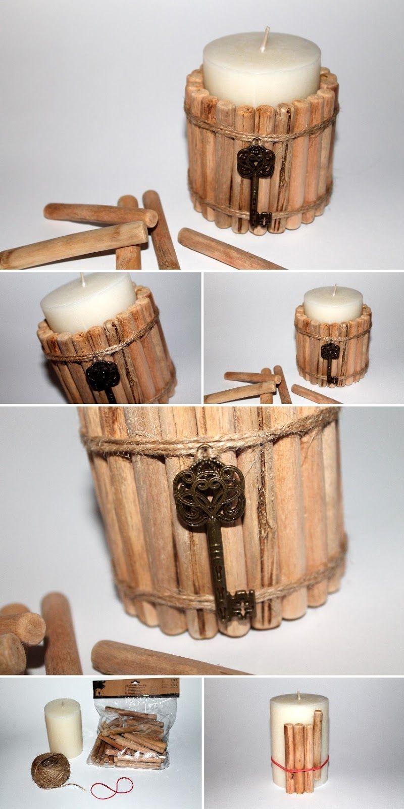 DIY Treibholzkerze | Einfache diy, Treibholz und Naturmaterialien