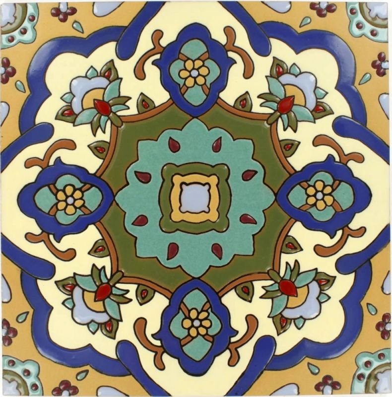 12 5 X 12 5 Santa Barbara Flower Santa Barbara Ceramic Floor Tile Painting Tile Floors Tile Floor Painted Floors
