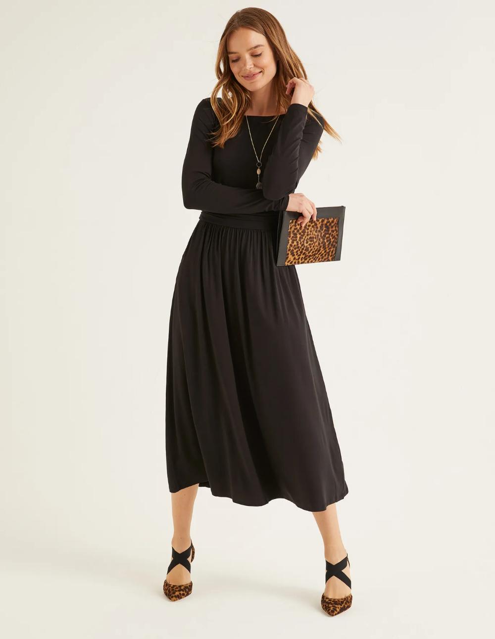 Lucille Jersey Midi Dress Black Black Midi Dress Midi Dress Dresses [ 1292 x 1000 Pixel ]