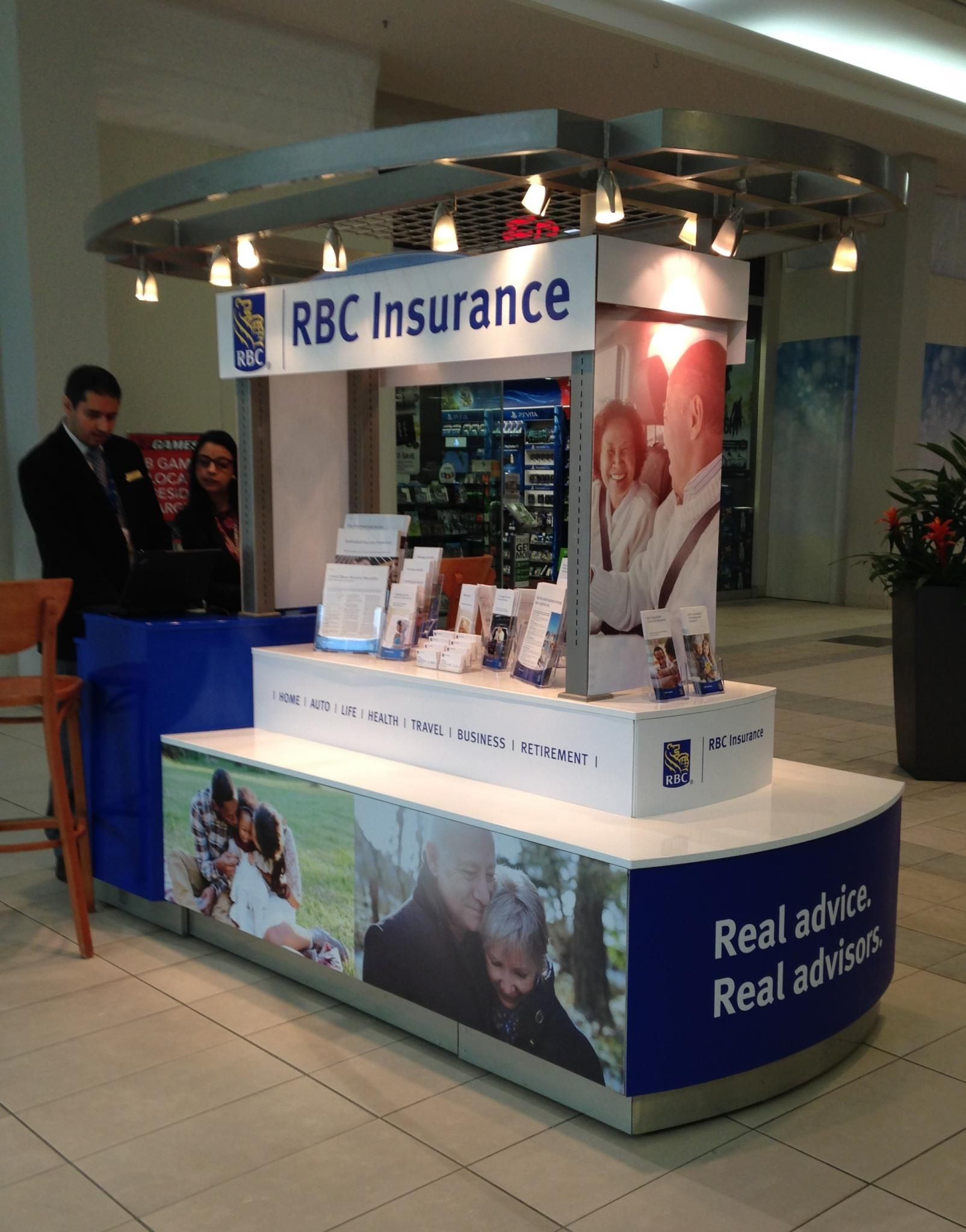 These kiosk graphics for RBC Insurance helps to draw