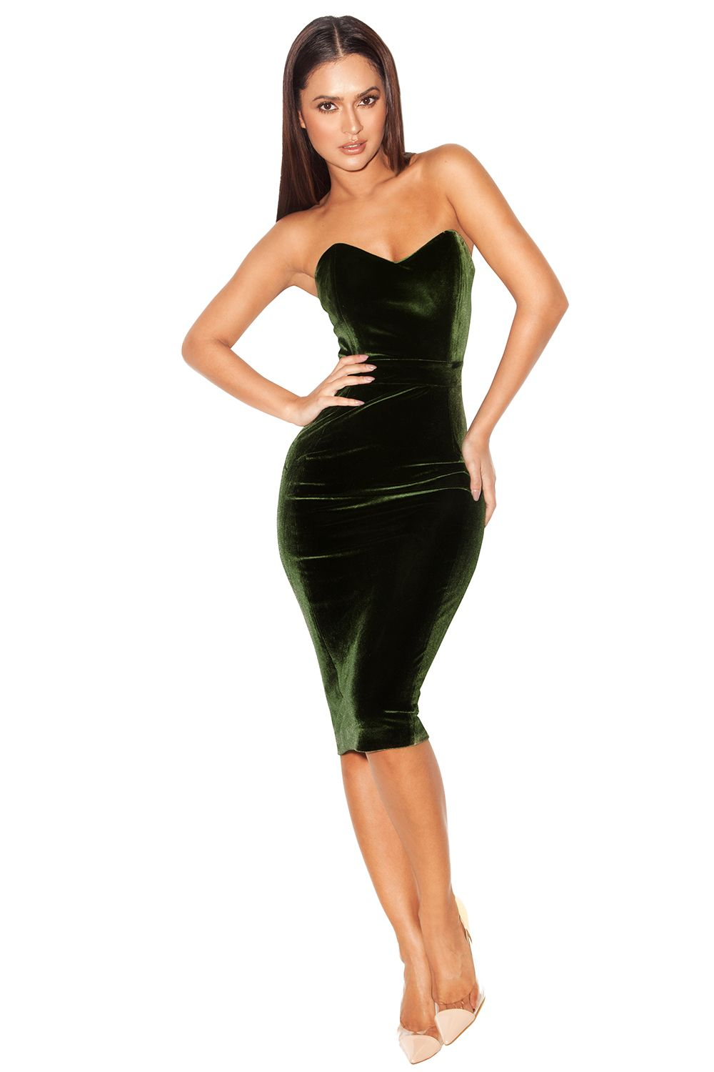 Clothing : Bodycon Dresses : 'Antonella' Olive Green Velvet ...
