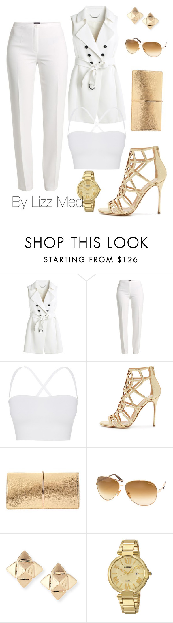 """""""White gold"""" by lizz-med ❤ liked on Polyvore featuring White House Black Market, Basler, Theory, Sergio Rossi, Nina Ricci, Tom Ford, Valentino and Seiko Watches"""