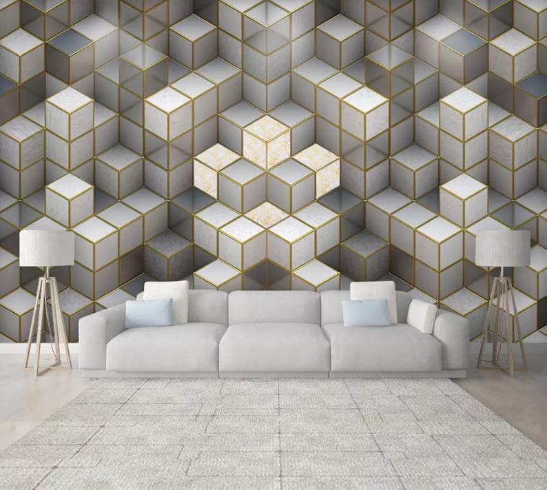 3D Jazz Gold border Gray texture Wallpaper Removable Self