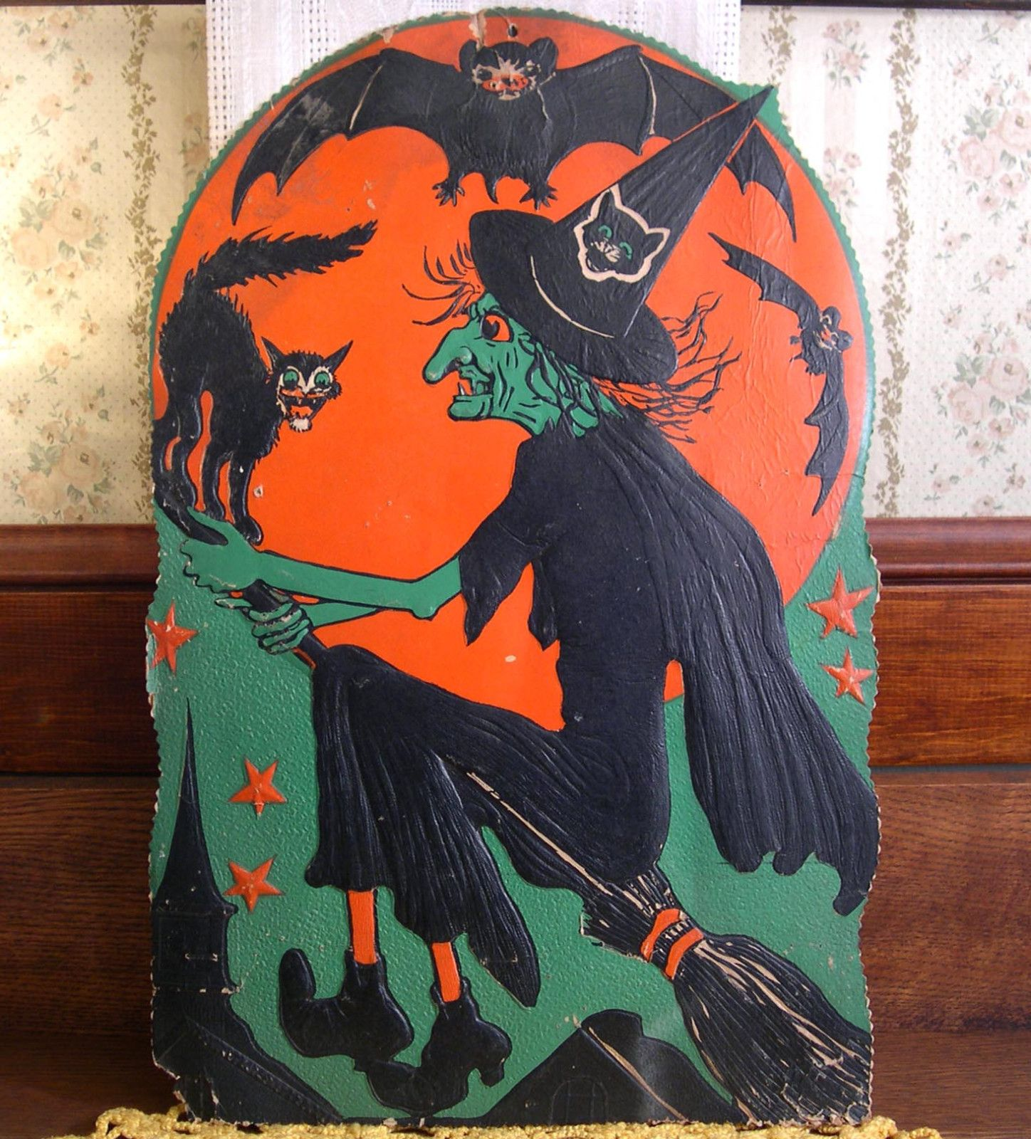 scarce vintage halloween beistle broomed witch diecut decoration early 1930s ebay