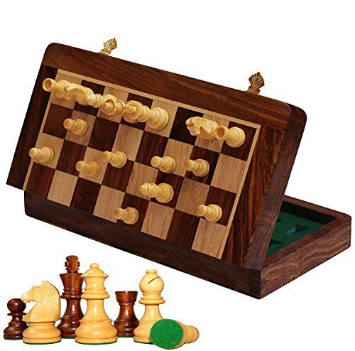 WOODEN SMALL FOLDING CHESS SET HIGH QUALITY CHESSBOARD SETS BOARD GAMES 24 CM