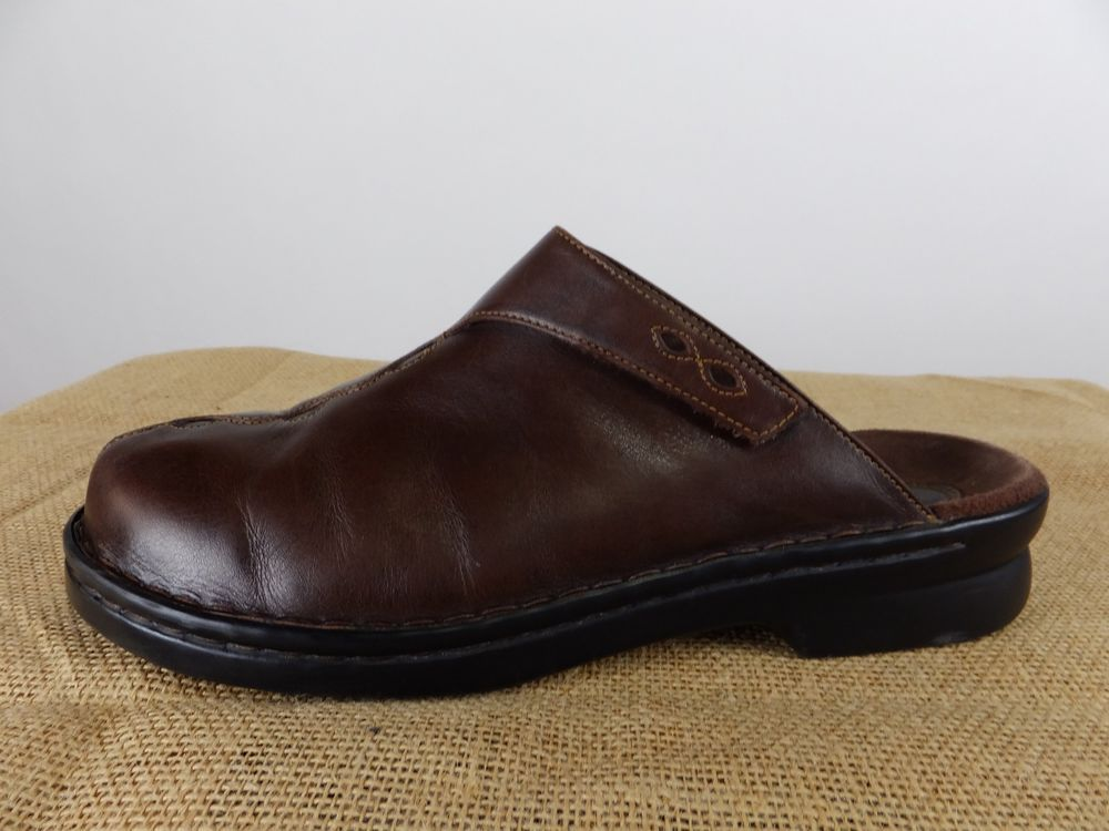 CLARKS Brown Leather Mule Clog Slip On