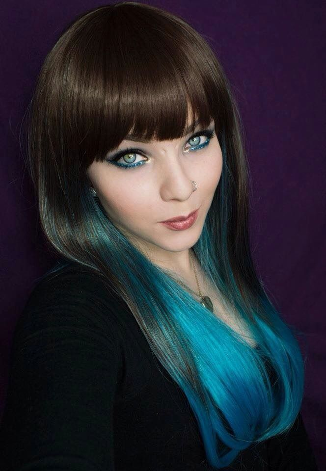 Blue Brown Dip Dye Ombre Lush Wig - Worldwide Tracked Delivery