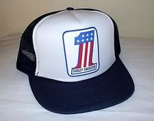 NOS Vintage Old School HARLEY  1 USA Logo Mesh BASEBALL Trucker CAP Deep  Fit Hat 8796a57931d