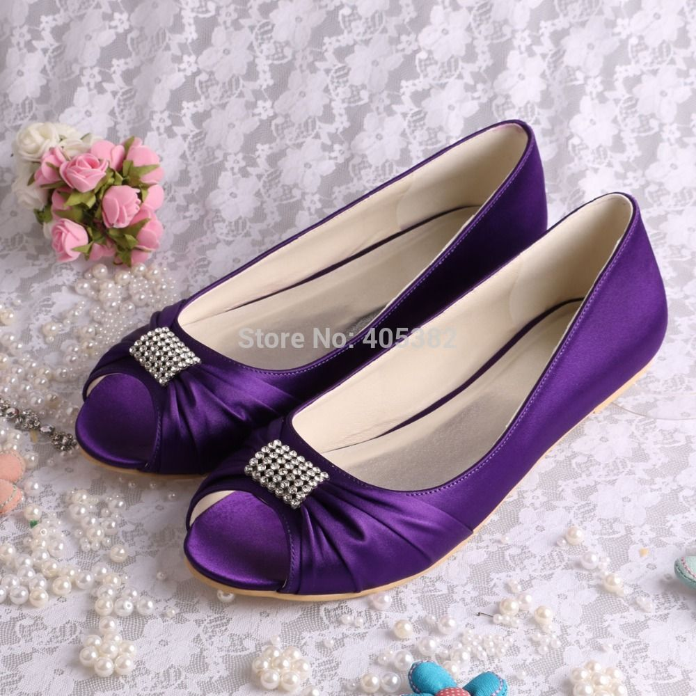 Directly From China Wedding Dress Shoes Suppliers Welcome To Our Store Colors Magic Bride Crystal Ballerina Flat Party Bridal Purple Satin Open