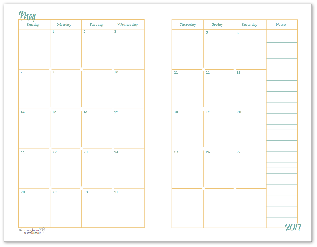 2017 half size monthly calendar printables daily planners