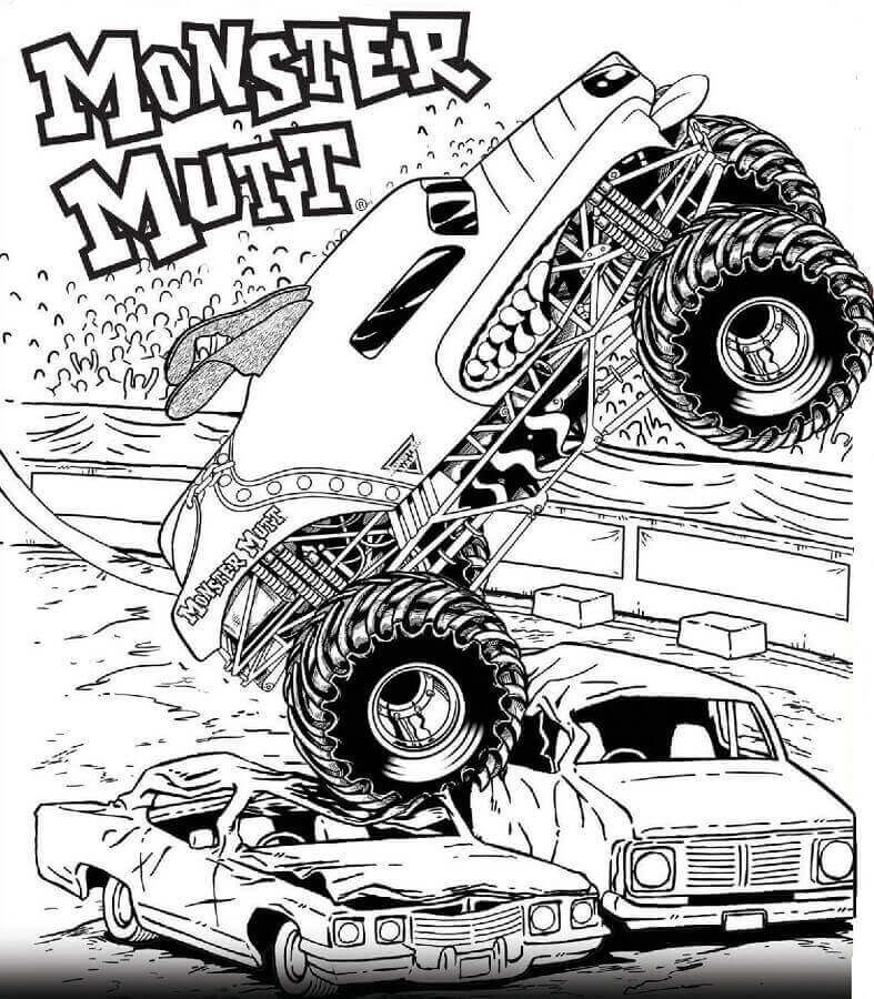 Free Printable Monster Jam Coloring Pages Monster Mutt Monster Truck Coloring Pages Truck Coloring Pages Cars Coloring Pages