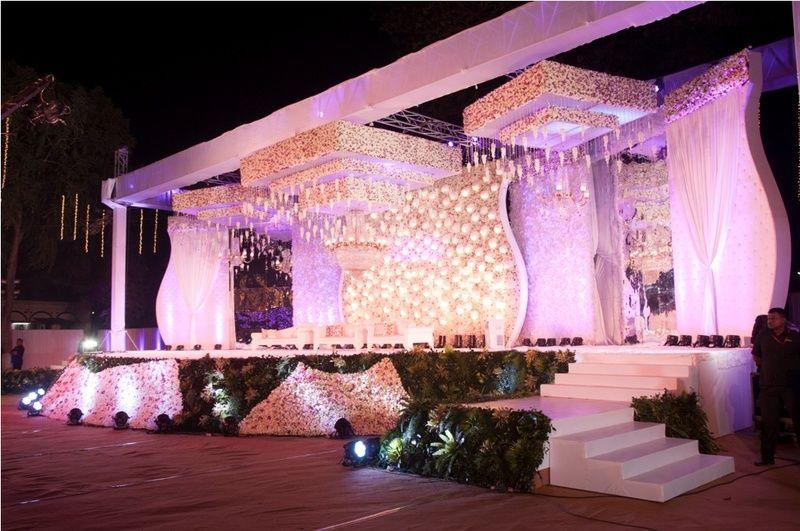 elegant stage decor | Wedding stage decorations, Wedding ...