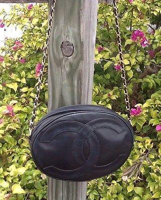 Authenic Vtg Chanel Lge CC Oval Blk Lambskin Chain Xbody L K | eBay
