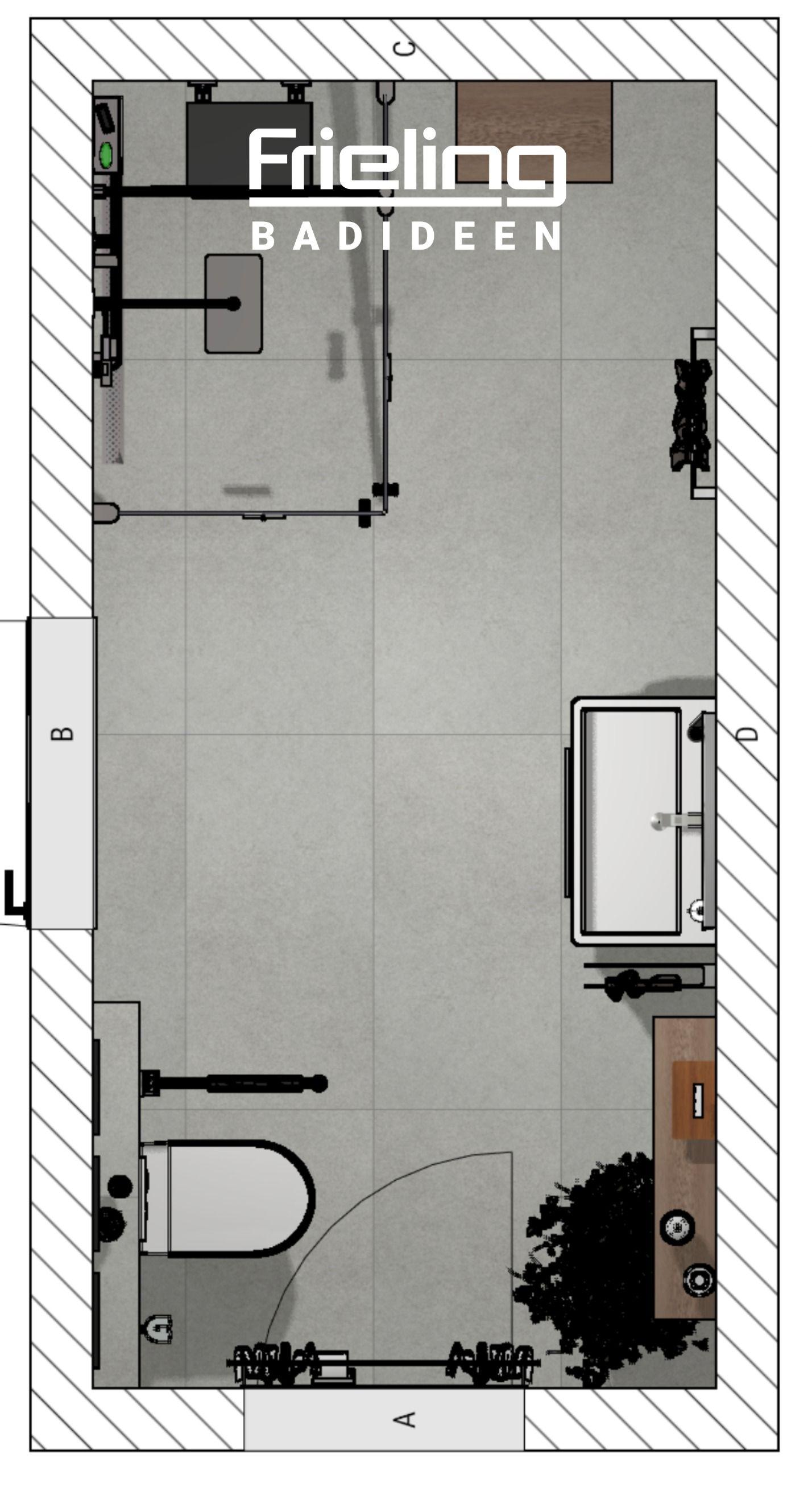 Das Badezimmer Im Vintage Look Grundriss 8qm Walk In Dusche Mit Klappsitz Modern Stylisch In 2020 Walk In Dusche Badezimmer Grundriss Badezimmer