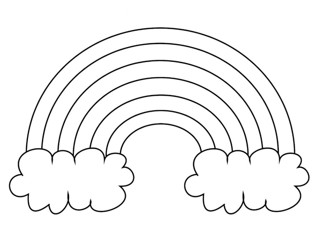 Extra Large Rainbow Template With Clouds Blank Ready To Color