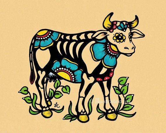 This Day of the Dead cow was inspired by a mix of folk art and old school tattoo design. Skele-cow is part of my farm animal series, and would be
