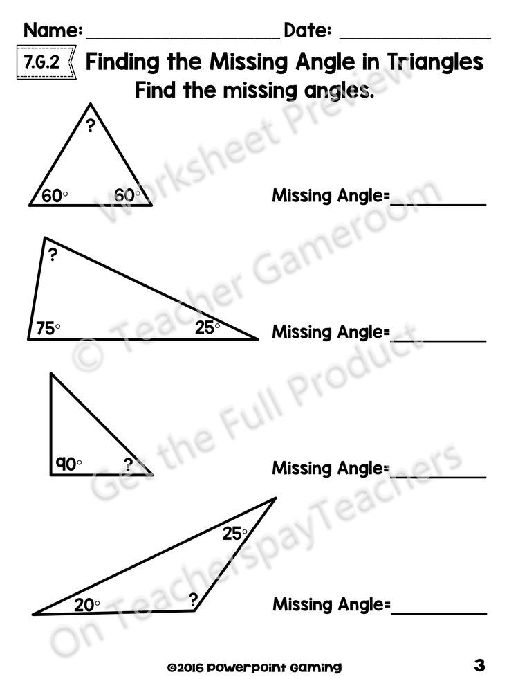 This Is A 2-step Method That Is Easy For Students To Understand ( Add What  You Know And Subtract From 180). Angles Worksheet, Triangle Math, Triangle  Worksheet