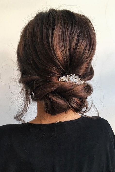 wedding twist low bun hairstyle with hair piece accessory #hairpiecesforwedding