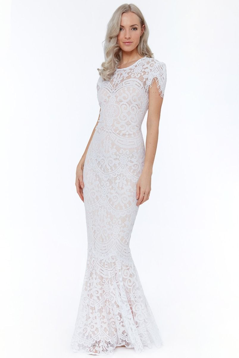 Lace cap sleeve maxi wedding dress white with images