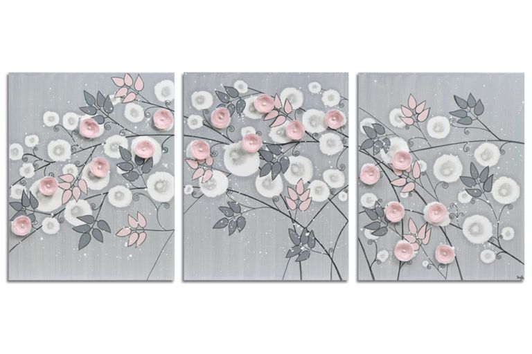Girl nursery art triptych flower painting gray and pink