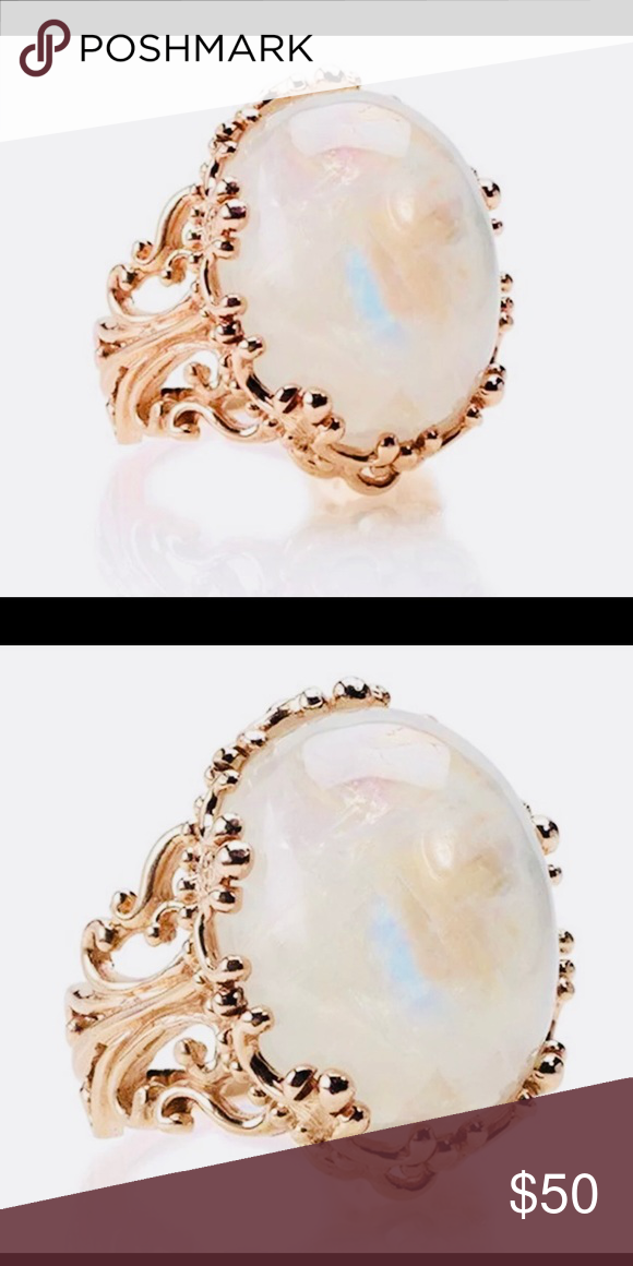 Vintage White Fire Opal Rose Gold Size 8