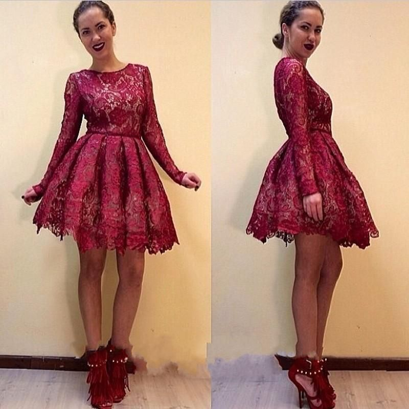 Burgundy Lace Short Homecoming Dresses Long Sleeves 8th Grade Prom Dresses Cheap Junior Party Cocktail Dress Vestidos De Festa