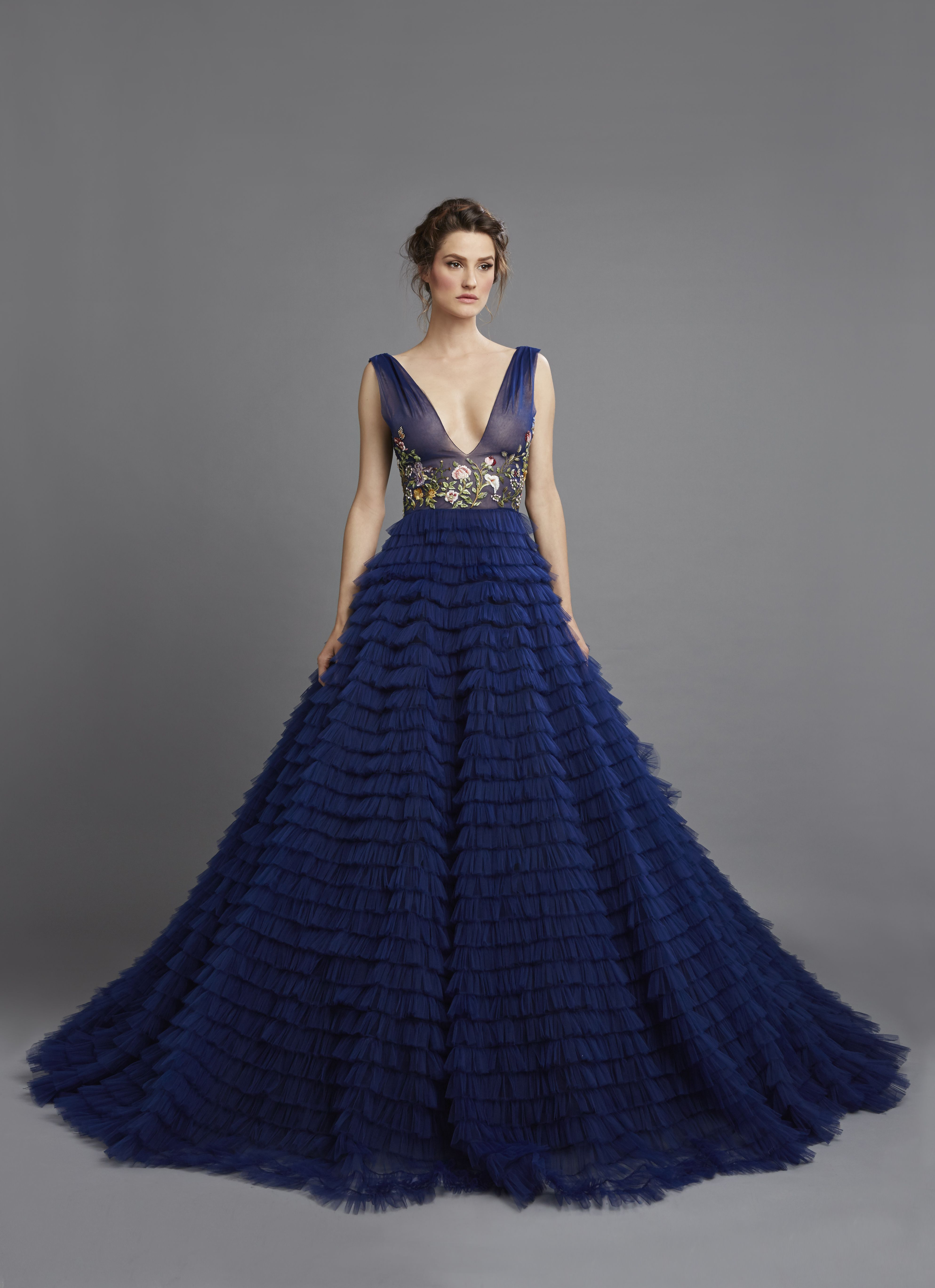 f626d36b9c0c Spring Summer 2015 Midnight blue low-cut ruffled bias tulle strips with  fantasy embroidery ball gown