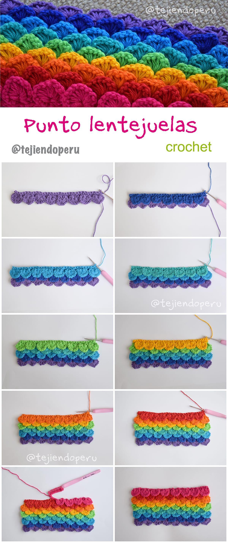 Crochet: punto lentejuelas arcoiris! Crochet sequin stitch: rainbow ...