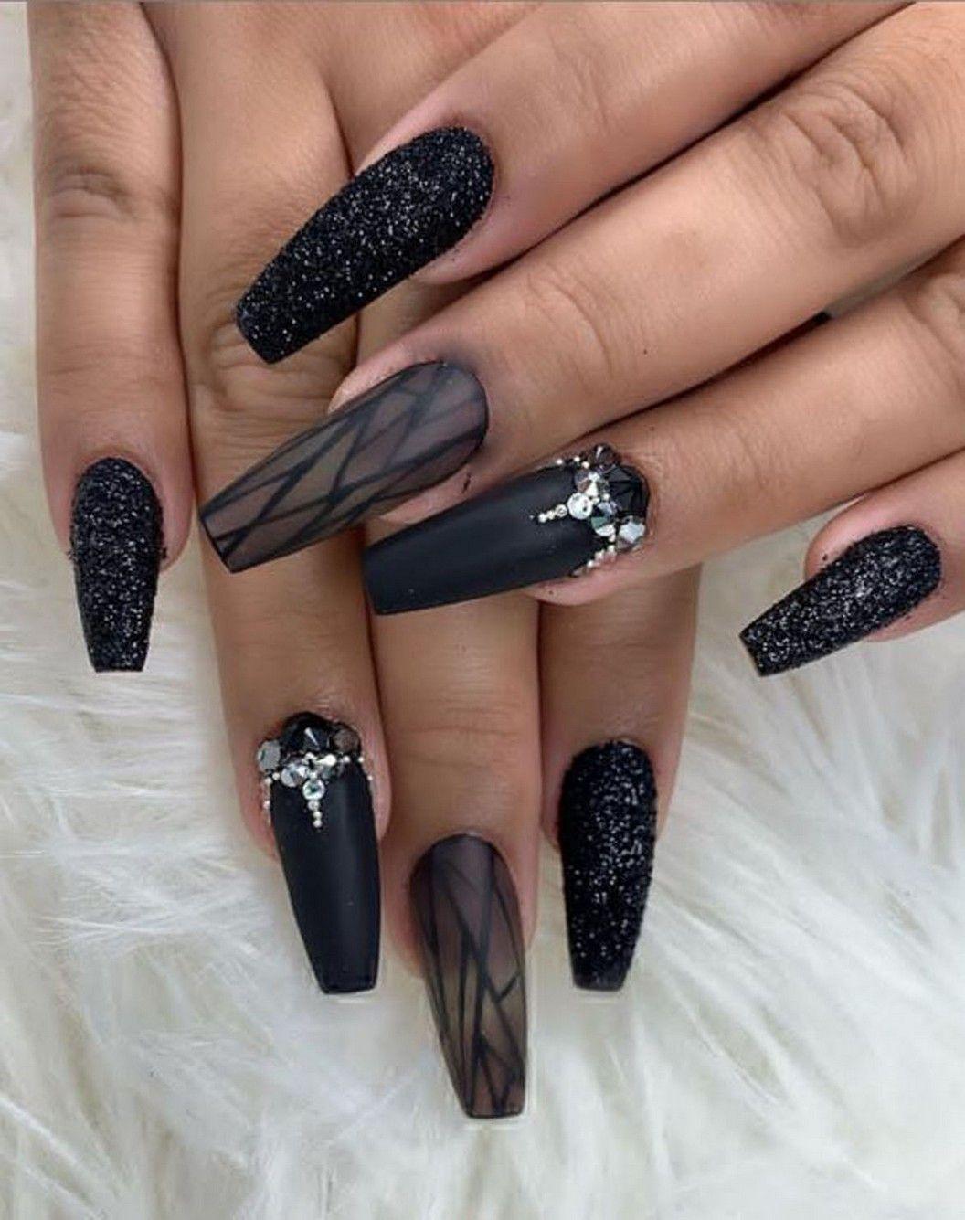 22 Best Matte Black Coffin Nail Ideas 19 In 2020 Nails Design With Rhinestones Black Nail Designs Coffin Nails Designs