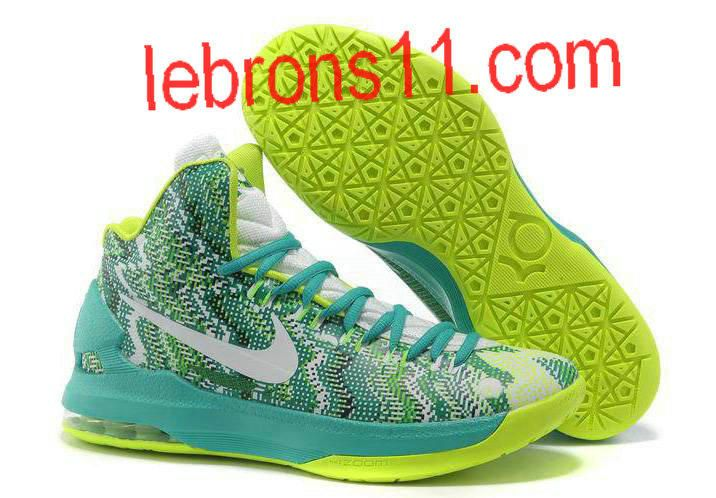 KD 5 Girls New Green Volt White Basketball Shoes for Womens ... f3f9f76d01