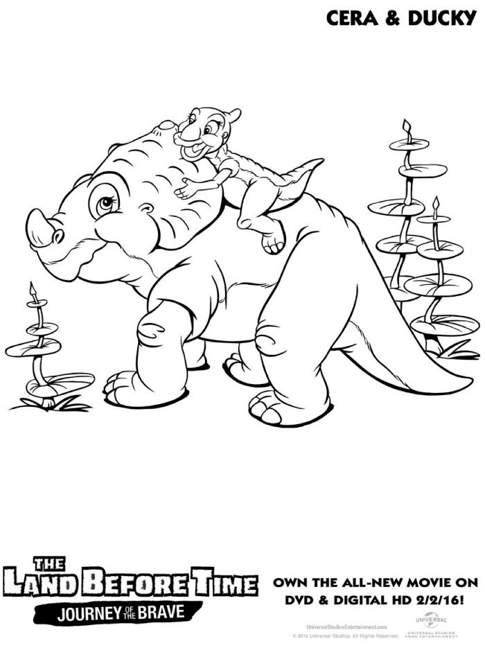 Land Before Time Cera and Ducky Coloring Page Printable Coloring