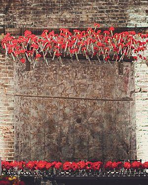 Centro floral colgando del techo rosas en tubosd de ensayo de laboratorio  boda wedding rojo red hanging bud roses test tubes centerpieces from Bold American Events