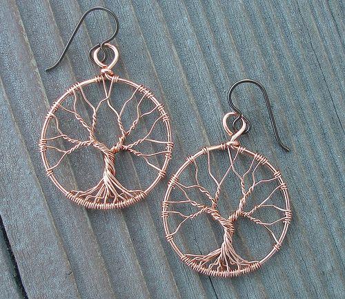 Tree of Life Earrings Copper   Ohrschmuck, Draht und Ketten