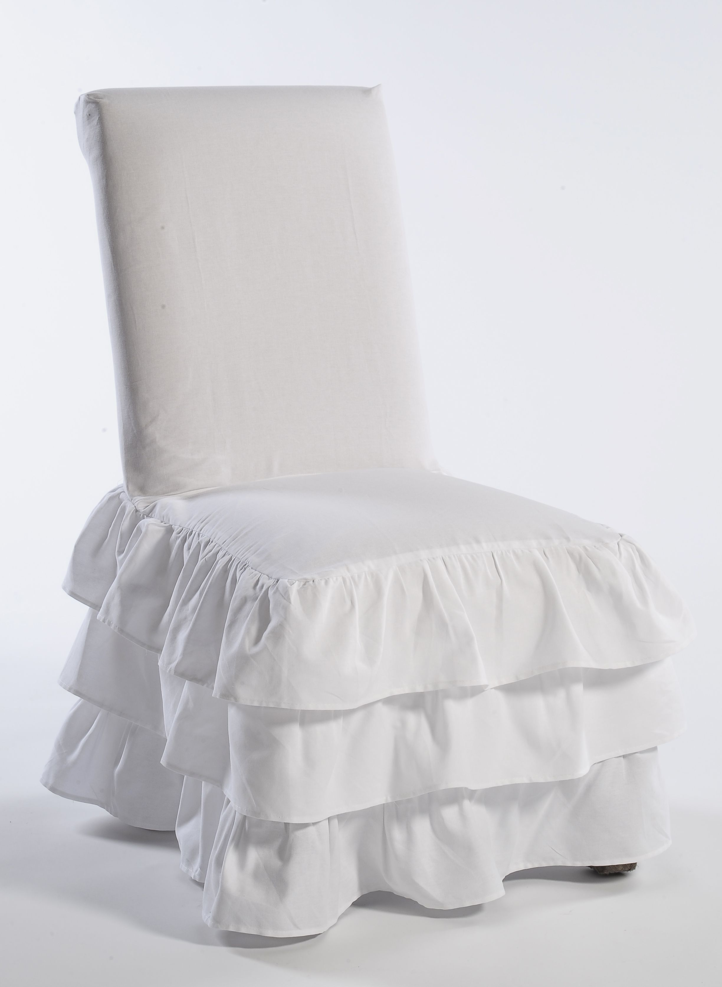 Classic Slipcovers Cotton Duck 3 tier Dining Chair cover White