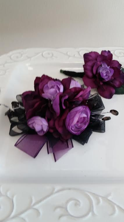 Prom Set  Dark and Light Purple & Black  by SterlingCottageShop