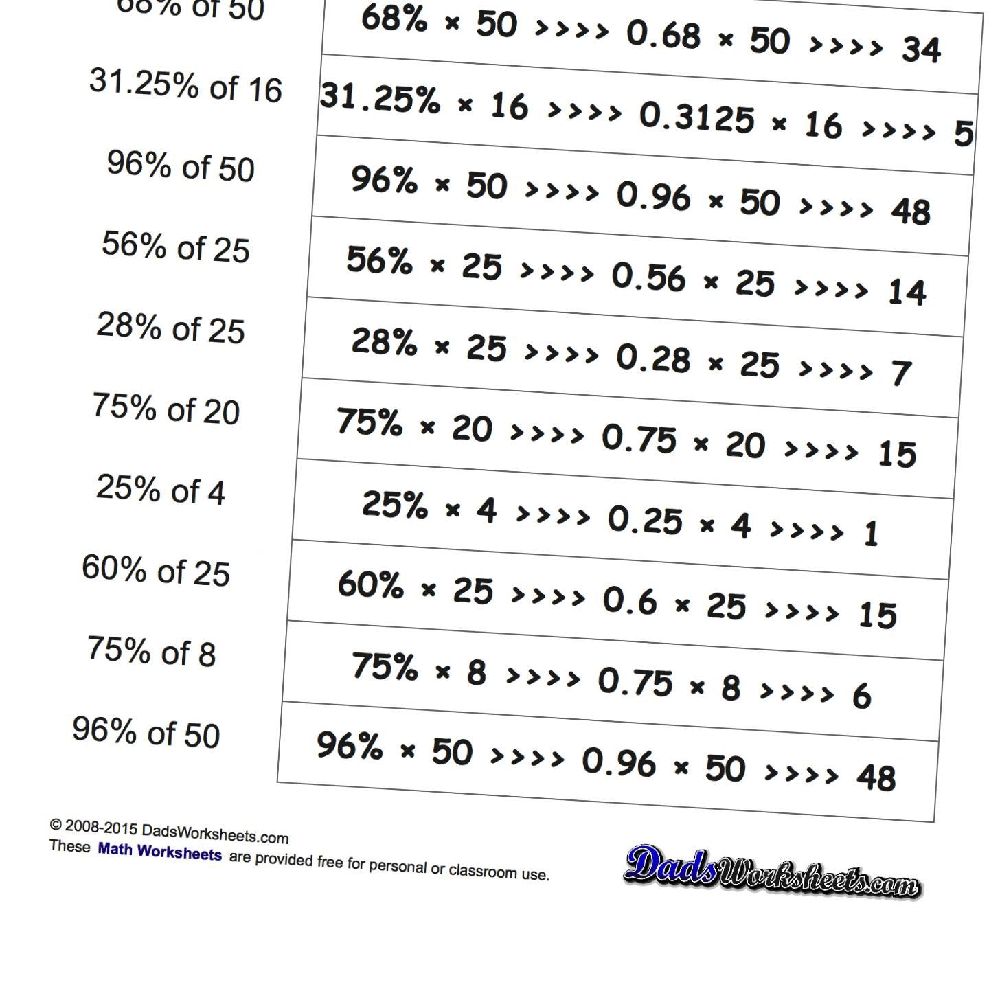 Percent Of A Number Worksheets Problems Where The Student Is