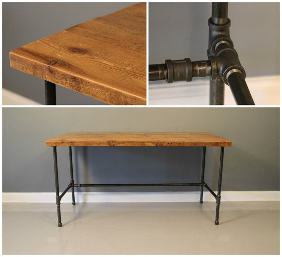 Industrial Urban Reclaimed Wood Desk With Raw Charcoal By DendroCo