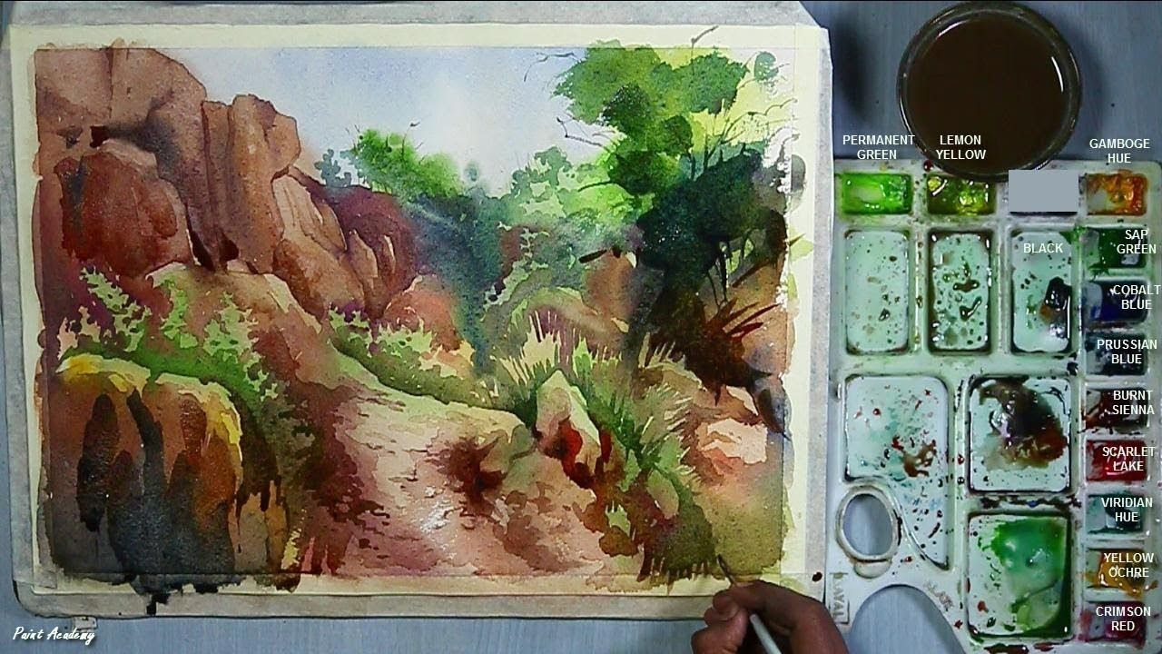 How To Paint Rocks Rocky Mountain Painting In Watercolor With