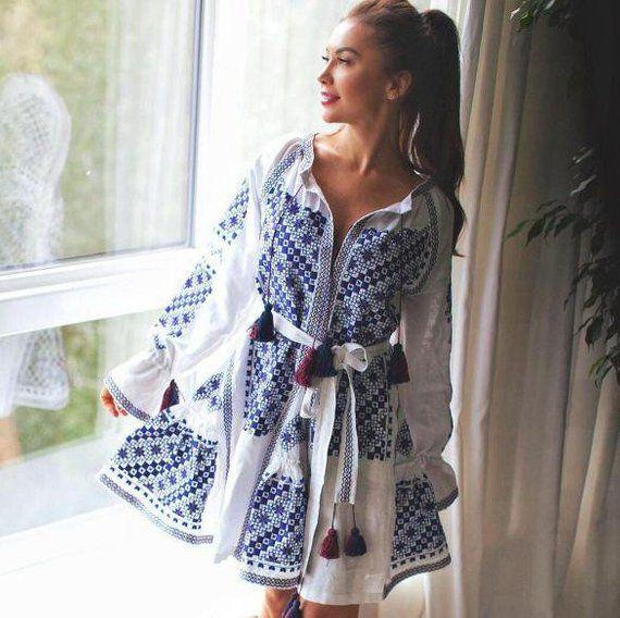 568ef898d66ca0 White boho dress ukrainian embroidery for women Embroidered vyshyvanka  dress Ukraine fashion bohemia Custom Made Clothing