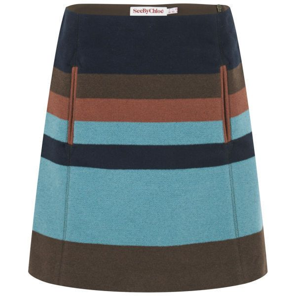 See by Chloe Women's Block Stripe Wool Skirt - Brown/Blue ($155) ❤ liked on Polyvore