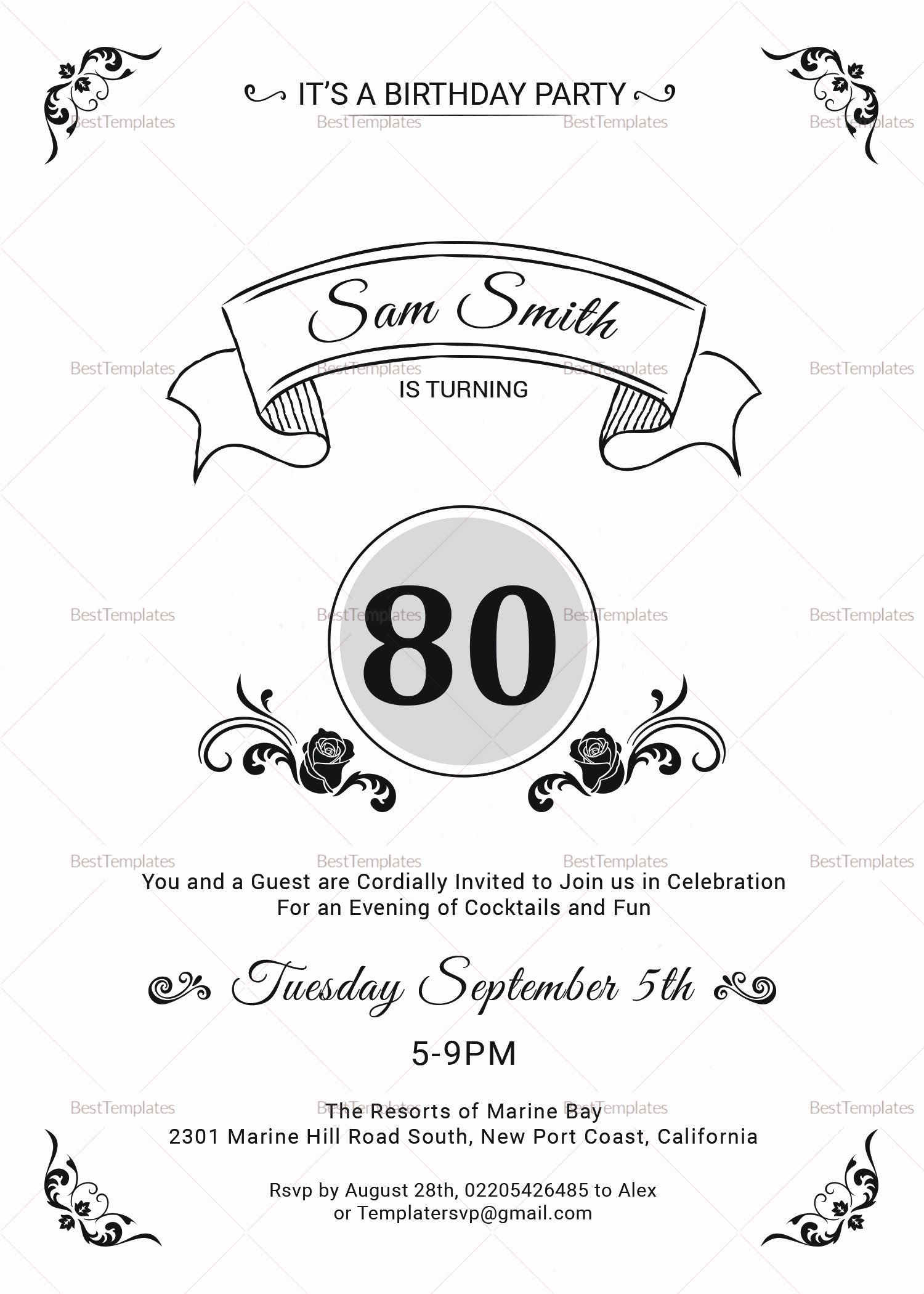 Birthday Invitation Template Photoshop Fresh 80th Birthday Party