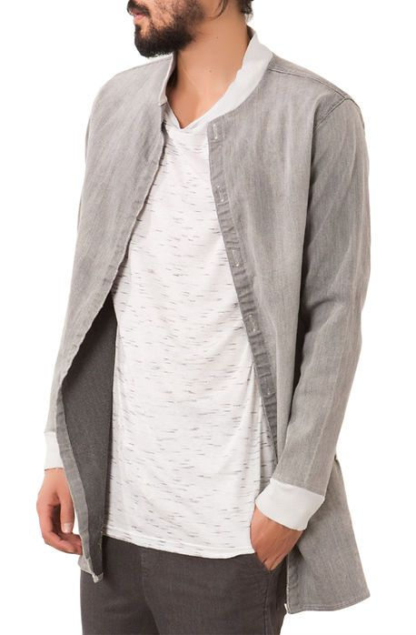 Elwood Jacket Distressed Denim Long Shirt Light Gray