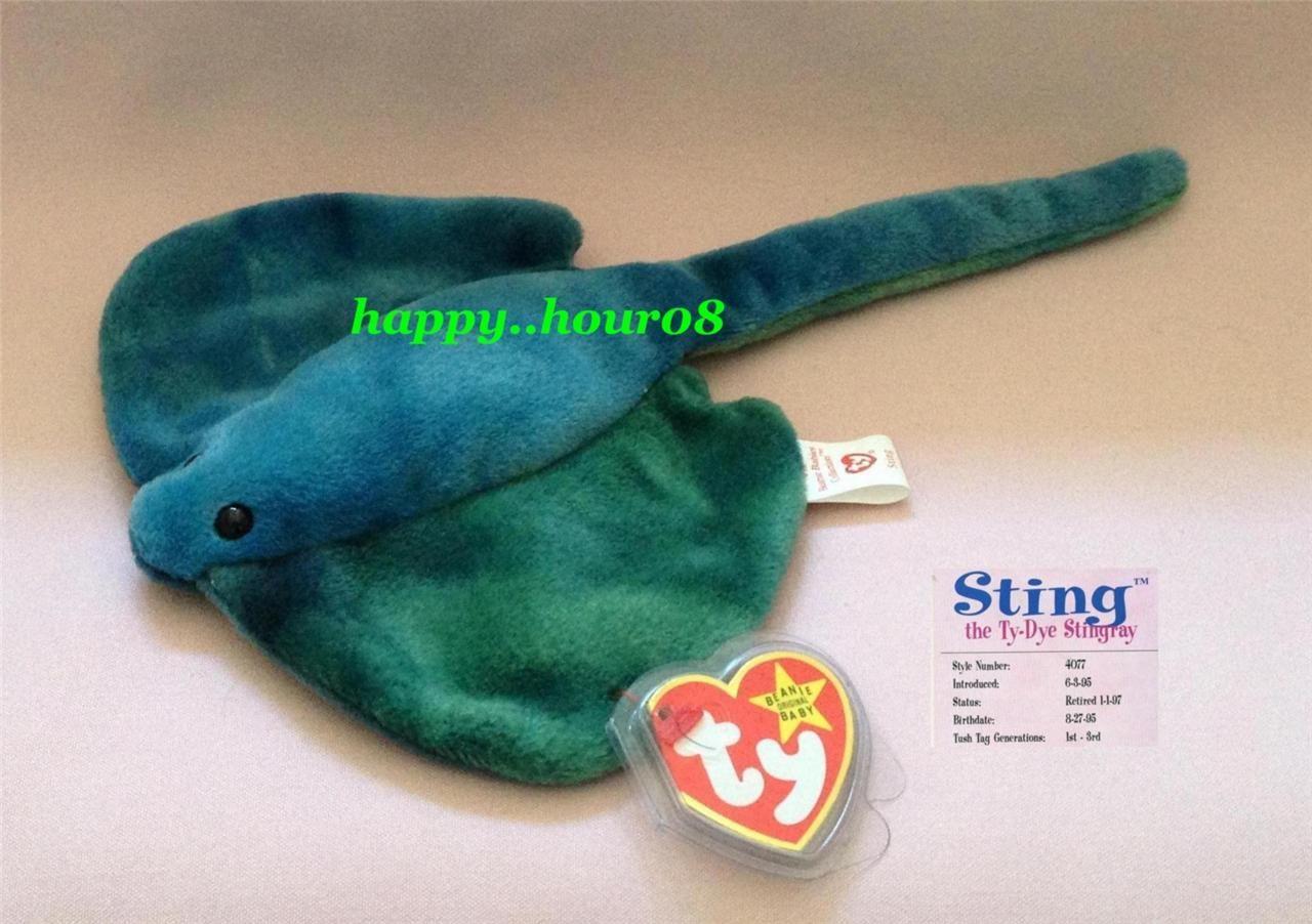 Ty Beanie Baby - Sting the Ty-Dye Stingray (MWMT) Retired PVC Rare ... d6031e46fe77