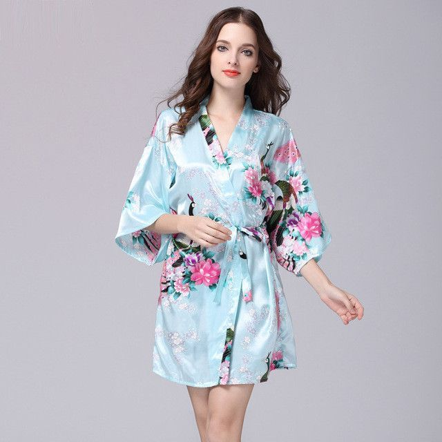 2017 Summer women Silk Wedding Bridesmaid Robe Kimono Knee Length ...