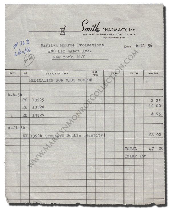 Marilyn MonroeS Personal Invoice For Prescriptions An Invoice For