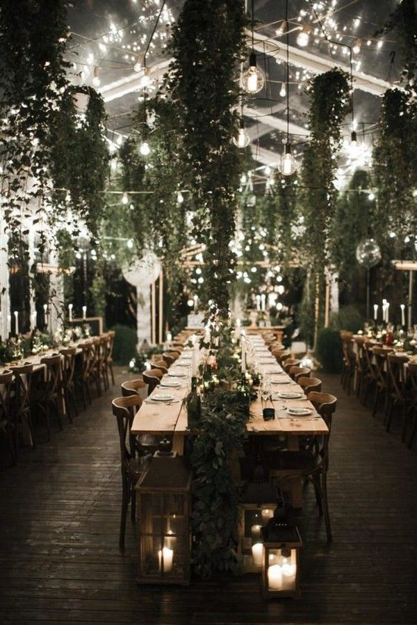 18 Stunning Ways to Decorate Your Wedding Reception with Lights and Greenery