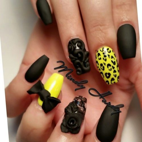 random black and yellow (just the plain black nails and ...