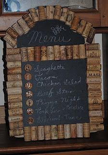 A DIY Cork Menu Board! Anybody willing to donate corks so I can make this? Seriously, I don't like wine but I need corks!