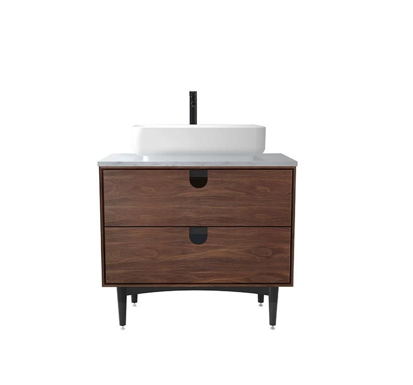 Portree 30 Walnut Mid Century Free Standing Bathroom Vanity With