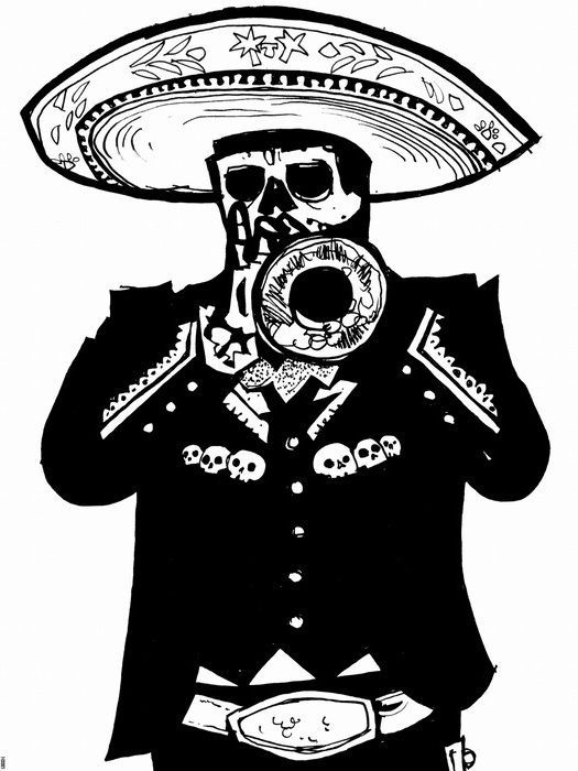 Details About Dead Mariachi Calavera Mexican Thrumpet Black White Wall Print Poster Uk Poster Prints Posters Uk Wall Prints